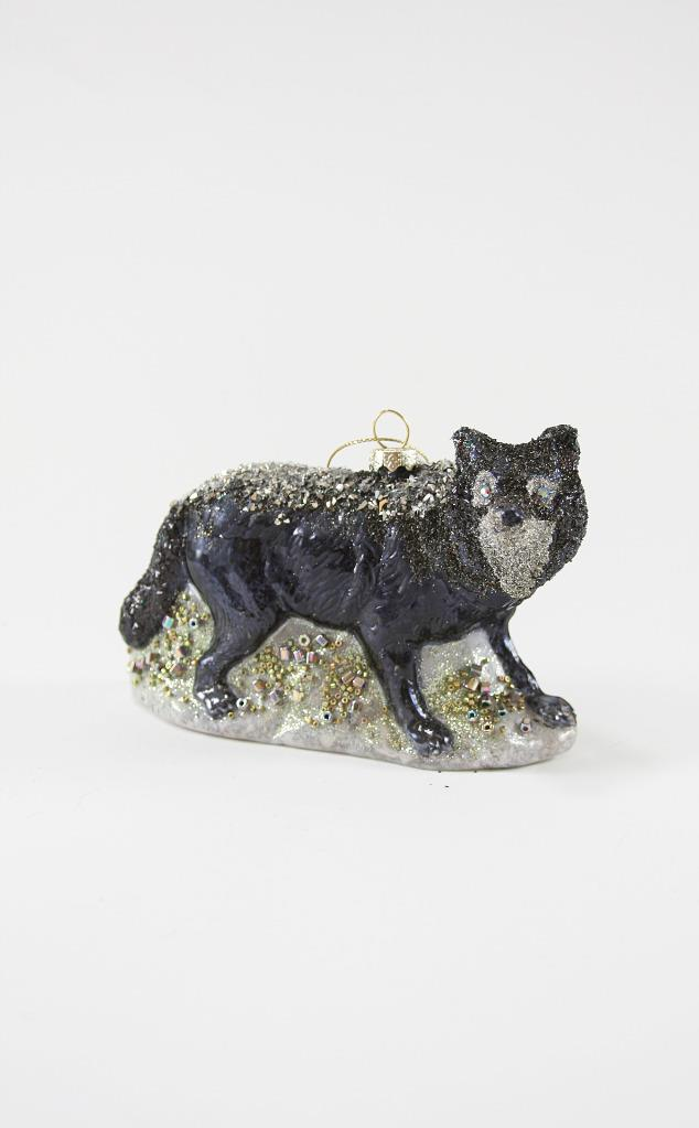Cody Foster Black Winter Wolf Glass Christmas Tree Holiday Ornament