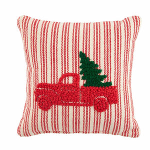 "Red Pickup Truck Tree Small Knot Christmas Pillow 8"" Square"