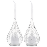 "Glass Teardrop 6"" Silver Glitter Christmas Ornament Set of 2"