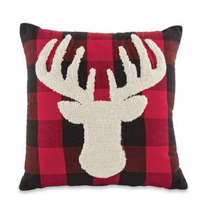 "Mud Pie Buffalo Check Raised Needlework Stag Deer 16"" Decor Pillow"