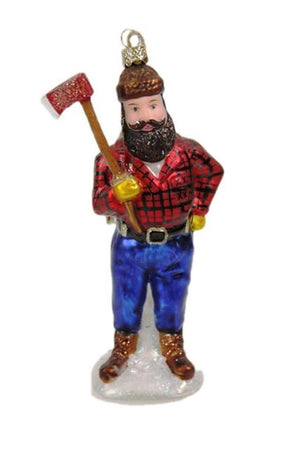 Cody Foster Lumberjack Buffalo Check Flannel Shirt Ax in Hand Glass Christmas Ornament
