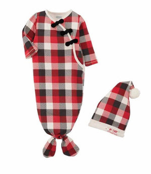 Mud Pie Kids Tri-Color Buffalo Check 1st Christmas Sleep Girls Gown Hat Set