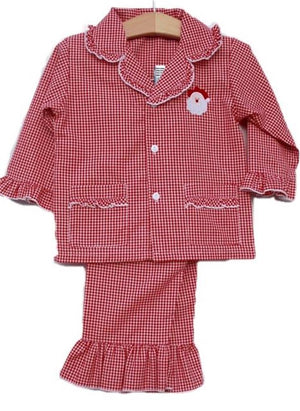 Santa Embroidered Red Gingham Girls 2 Pc Christmas Pajamas Lightweight