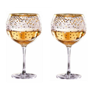 Mud Pie Home Metallic Gold Dots Balloon Wine Drink Glass Set of 2