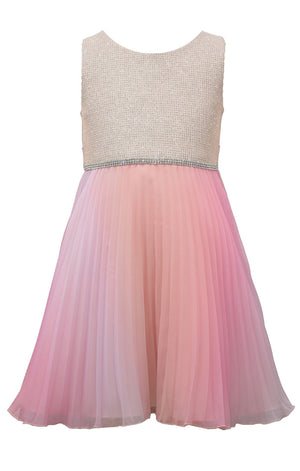 Bonnie Jean Sleeveless Sparkle with Pink Peach Ombre Tulle Pleats Dress