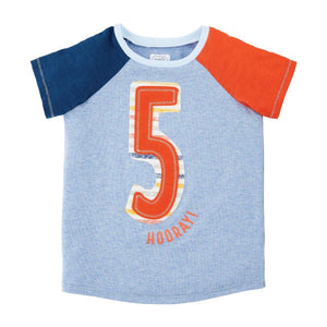 Boys 5th Birthday Top Tee Shirt Striped with 5 On Front