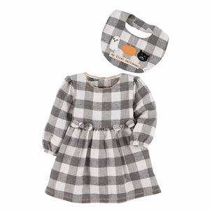 Mud Pie Kids Buffalo Check 1st Halloween Thanksgiving Baby Dress Bib Set