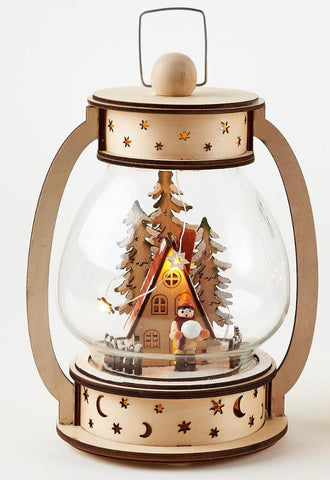 180 Degrees  Hanging Lantern with Chalet Christmas Village Winter Lighted Scene