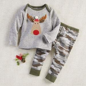 Mud Pie Kids Boys Camo Christmas Moose 2 Pc Top Pants Set
