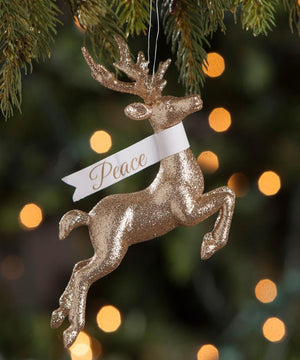 "Bethany Lowe Gold Glitter Leaping Stag Reindeer Peace 4"" Christmas Ornament"