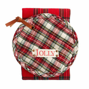 White Tartan Pot Holder and Red Kitchen Towel Christmas Set