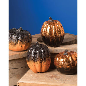 "Bethany Lowe 4"" Tall Ombre Black Orange Glitter Halloween Pumpkin Figures Set of 4"