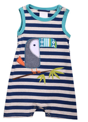 Bonnie Jean Boys Blue Gray Shortall Shorts Set with Toucan Bird Applique