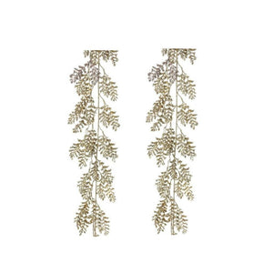 Regency 6' Long Gold Glitter Wild Fern Christmas Tree Garland Set of 2