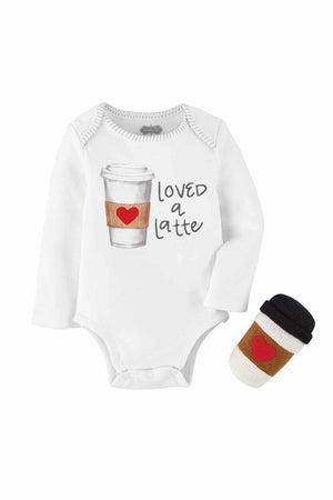 "Mud Pie Kids ""Loved a Latte"" Baby Coffee Sentiment Bodysuit Top Rattle Set"