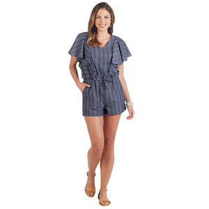Mud Pie Womens Isla Shorts Womens Romper Blue Chambray Stitched Stripe Details Blue
