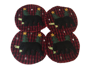 KIG Exclusives Black Bear on Buffalo Check Background Christmas Handmade Felt Drink Coasters