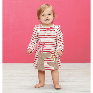 Mud Pie Kids Baby Girls Red Striped Christmas Dress Reindeer Applique