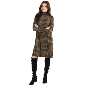 Mud Pie Womens Topher Turtleneck Jersey Dress-Camo