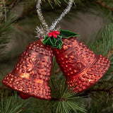 Ragon House Red Christmas Bells with Holly Ornament Holiday Decor