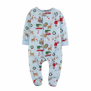 Mud Pie Kids Classic Christmas Santa Reindeer Print Blue Boys Sleeper Set