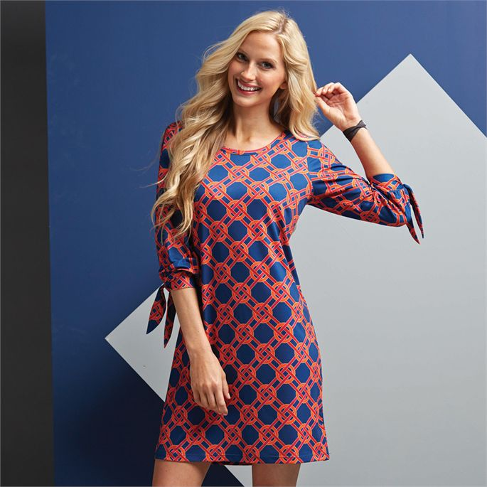 Mud Pie Anderson Dress Navy and Red Chain Link Print, Sz Small