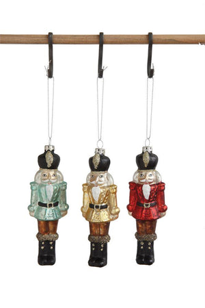 "5"" Glass Nutcracker Soldiers Christmas Tree Ornaments-Set of 3 Colors"