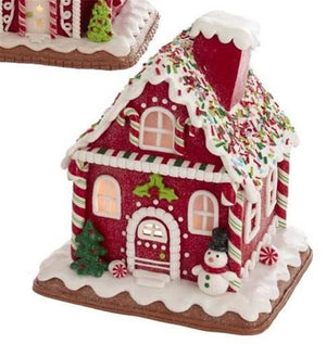"7"" LED Lighted Gingerbread Polyclay Christmas Red Cookie Snowman House"