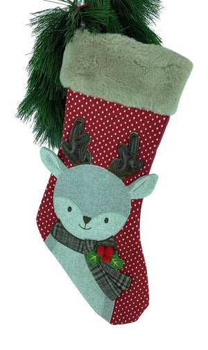 Red Knit Fair Isle Reindeer Applique Christmas Stocking