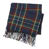 Mud Pie Womens Navy Stewart Scottish Tartan Plaid Womens Fringed Scarf