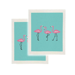 Cotton Sponge Cloth Kitchen Clean Up Reusable Summer Flamingo Print Set of 2