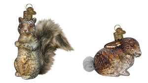 Old World Christmas Squirrel and Cottontail Bunny Mini Woodland Glass Christmas Ornament Set
