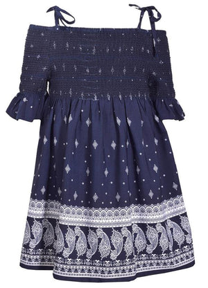 Bonnie Jean Blue Halter Style Paisley Print Dress with Tie Shoulder Straps