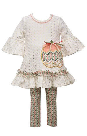 Bonnie Jean Ruffle Sleeve Ivory Pumpkin Applique Top and Legging Set