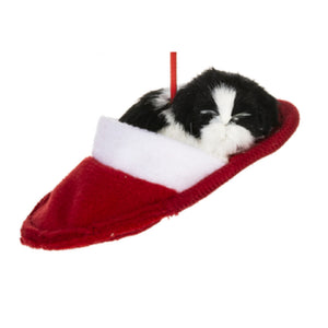 "Mid West Black and White Dog Sleepping in Slipper 5.25"" Wide Christmas Ornament"