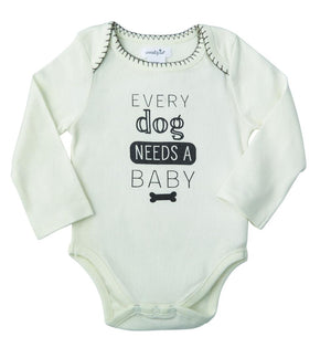 "Mud Pie Kids Pet Sentiment Baby Bodysuit Crawler Shirts-""Every Dog Needs a Baby"""