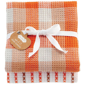 Mud Pie Fall Thanksgiving Orange Buffalo Check Brown Stripe Kitchen Towel Set of 2
