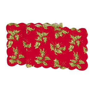 "April Cornell Christmas Holiday Quilted 51"" Table Runner Holly Red Plaid Pattern"