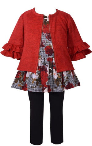 Bonnie Jean 3 Piece Floral Printed Challis Dress with Red Ruffled Sweater and Black Pants Set