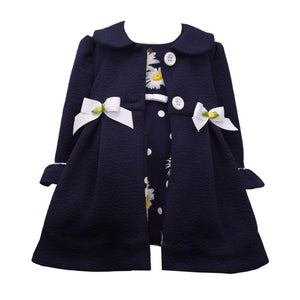 Bonnie Jean Navy Polka Dots and Daisy Spring Dress and Coat Set