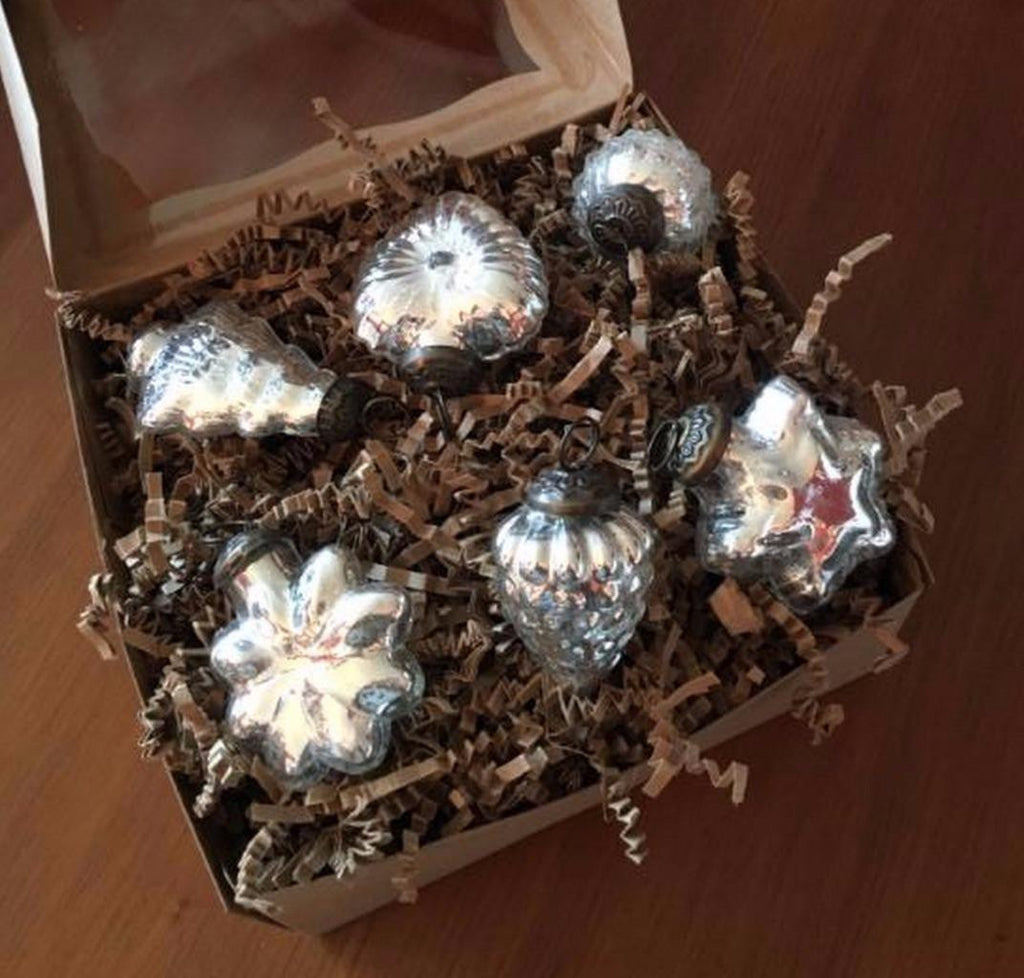 "Culturas Trading 6 Piece 2.5"" Silver Mercury Glass Christmas Ornaments Assorted Shapes"
