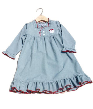 Santa Embroidered Green Gingham Checked Christmas Girls Nightgown