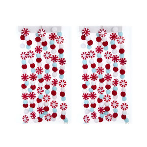 Kurt Adler Red White Blue 6' Candy Christmas Garland with Pom Pom Set of 2