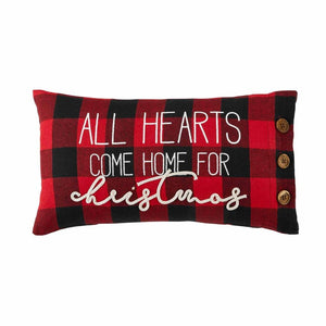 All Hearts Come Home for Christmas Buffalo Check Accent PIllow