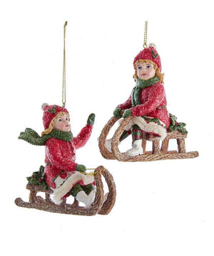 "3.5"" Victorian Girl on Sled Red Coat Christmas Ornament Set of 2"