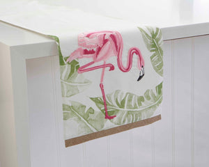 "Flamingo Jute Embroidered Tropical Themed Table Runner, 13"" by 72"" Length"