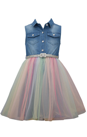Bonnie Jean Sleeveless Denim Chambray Rainbow Tulle Skirt Girls Dress