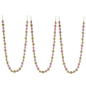 "Regency 48"" Pink and Gold Glitter Round Bead Christmas Tree Garland Set of 3 Pink"