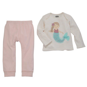 Mud Pie Kids Mermaid Baby Cotton Ribbed Baby 2 Piece Pants Set