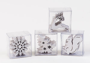"Christmas Holiday Wood 2"" Deer, Snowflake, Tree, and Squirrel Confetti, 4 Styles, White Color"